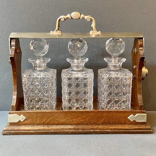 Antique Oak and Silver Plate Three Bottle Tantalus image-2