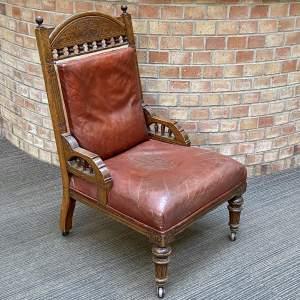 Edwardian Oak Framed Leather Armchair