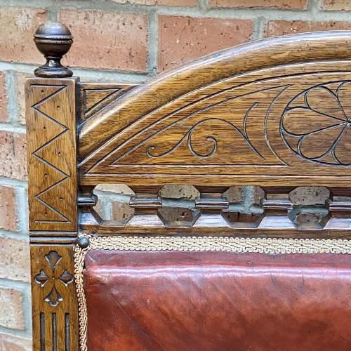 Edwardian Oak Framed Leather Armchair image-3