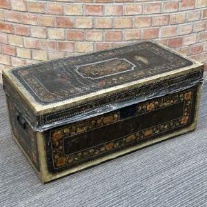 19th Century Hand Painted Vellum Covered Trunk