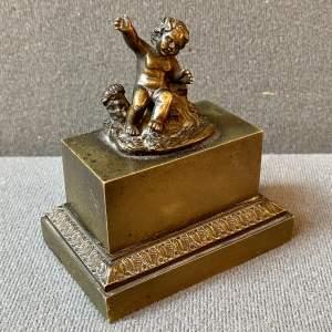19th Century Bronze Cherub Inkwell