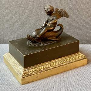 Late 19th Century Bronze Cherub Inkwell with Brass Base