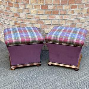 Pair of Late 19th Century Victorian Mahogany Square Ottomans