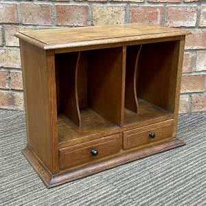 Edwardian Oak Desk Top Stationery Cabinet
