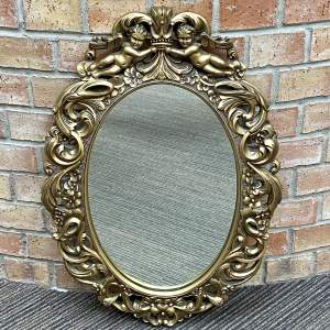 Mid 20th Century French Rococo Style Oval Wall Mirror