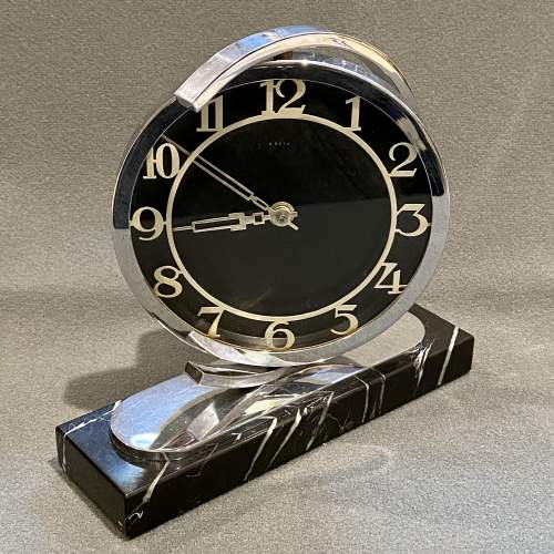 Art Deco 8 Day Chrome Desk Clock image-1