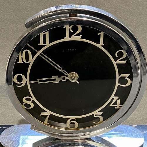 Art Deco 8 Day Chrome Desk Clock image-2