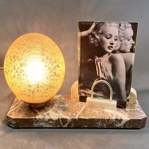Art Deco 1930s French Boudoir Lamp with Picture Frame image-1
