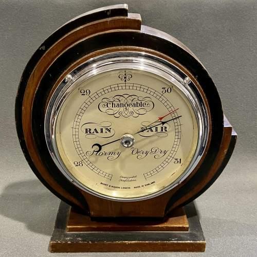 Art Deco Short and Mason Barometer image-1