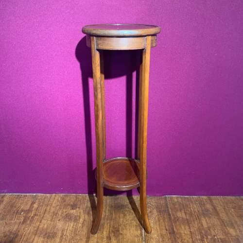 Edward VII Mahogany Inlaid Circular Jardinere Stand image-1