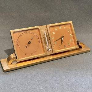 Vintage Wyler of Switzerland Desk Set Clock and Barometer