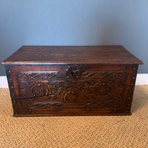 Victorian Small Carved Oak Coffer