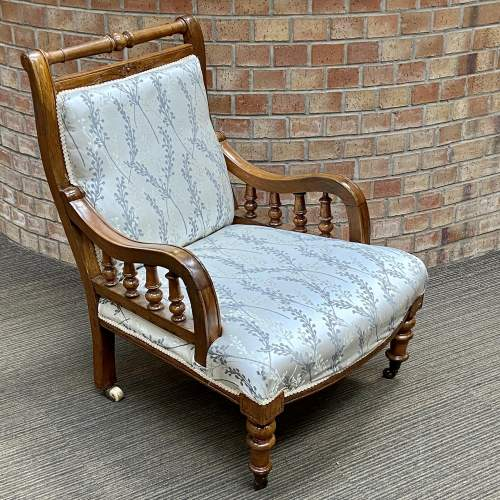Victorian Oak Framed Parlour Chair image-1
