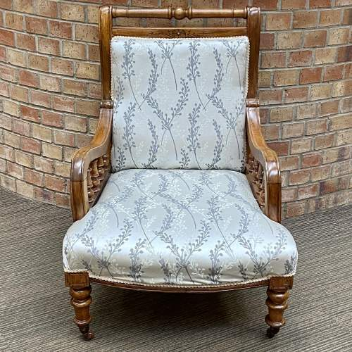 Victorian Oak Framed Parlour Chair image-2