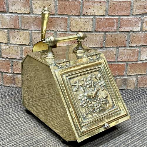 Aesthetic Movement Victorian Brass Coal Box and Shovel image-1