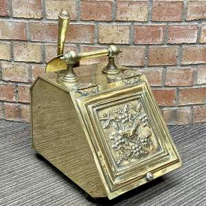 Aesthetic Movement Victorian Brass Coal Box and Shovel
