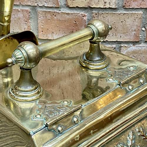 Aesthetic Movement Victorian Brass Coal Box and Shovel image-4
