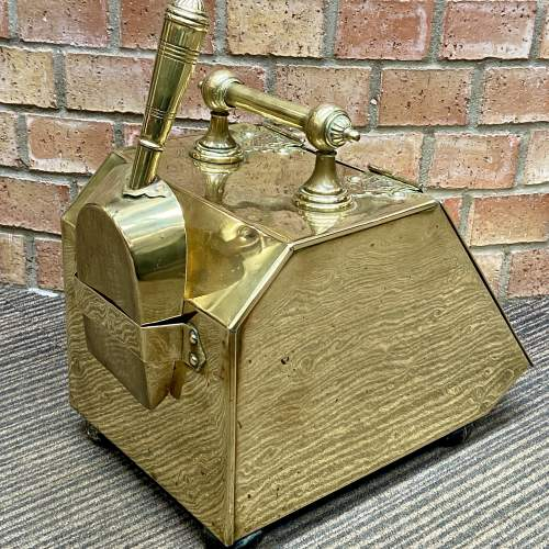 Aesthetic Movement Victorian Brass Coal Box and Shovel image-5