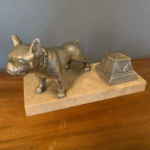 Art Deco Spelter Bull Dog and Inkwell on Marble Base