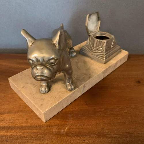 Art Deco Spelter Bull Dog and Inkwell on Marble Base image-2