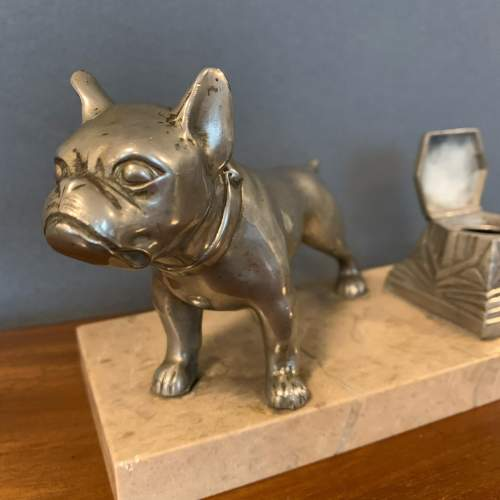 Art Deco Spelter Bull Dog and Inkwell on Marble Base image-3