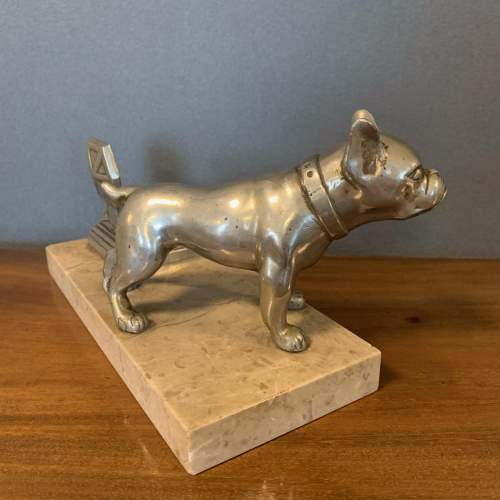 Art Deco Spelter Bull Dog and Inkwell on Marble Base image-5