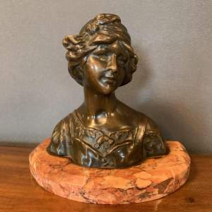 French Art Nouveau Bronze Bust of a Lady