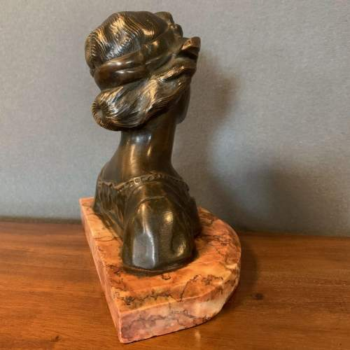 French Art Nouveau Bronze Bust of a Lady image-5