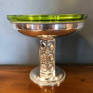 WMF Arts and Crafts Silver Plated Tazza with Green Glass Liner