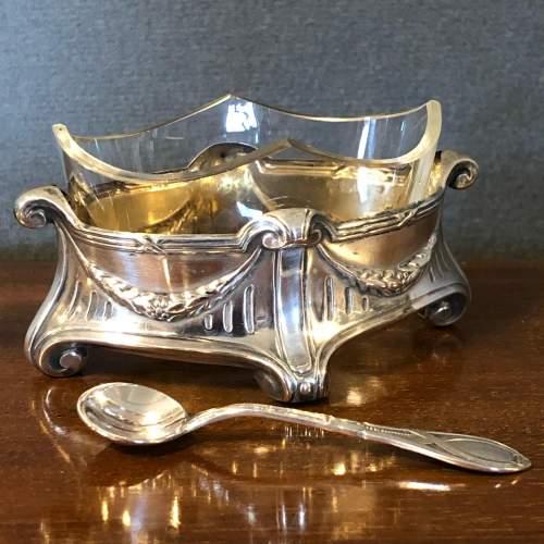 Art Nouveau Silver Salt with Glass liner image-1