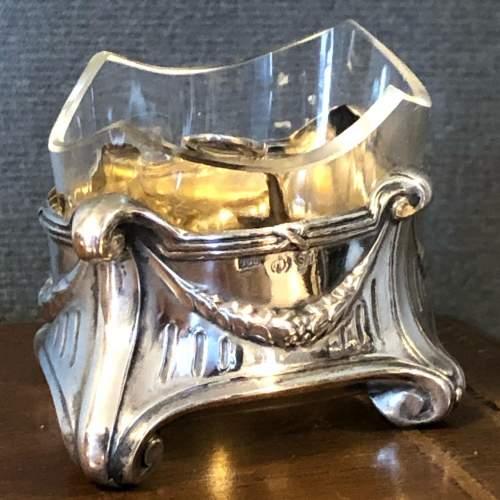 Art Nouveau Silver Salt with Glass liner image-2