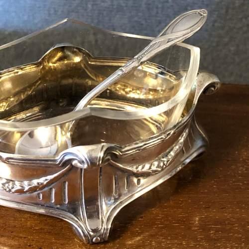 Art Nouveau Silver Salt with Glass liner image-5