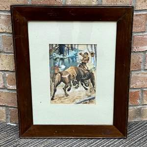 Framed Watercolour of a Boy on a Horse with a Moose