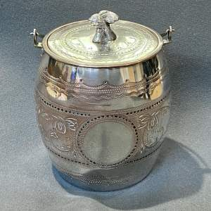 Victorian James Deakin Silver Plated Biscuit Barrel