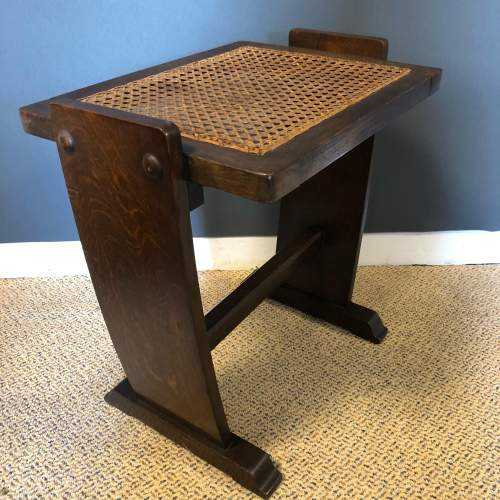 Oak Dressing Table Piano Stool with Bergere Seat image-3