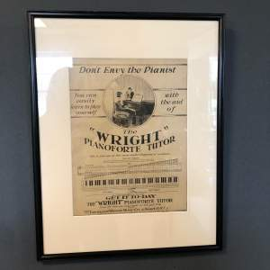 Original Sheet Music Advert for  the Wright Pianoforte Tutor