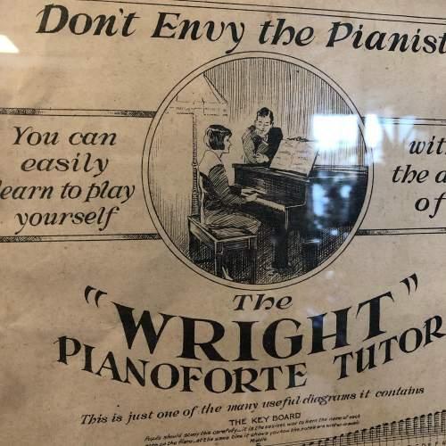Original Sheet Music Advert for  the Wright Pianoforte Tutor image-2