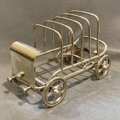 Late 19th Century Silver Plated Novelty Car Toast Rack image-1