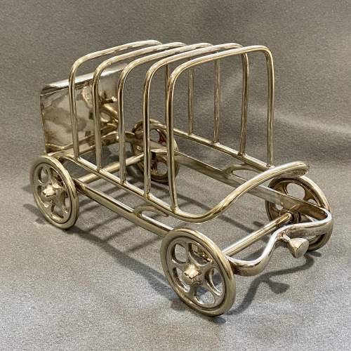 Late 19th Century Silver Plated Novelty Car Toast Rack image-2