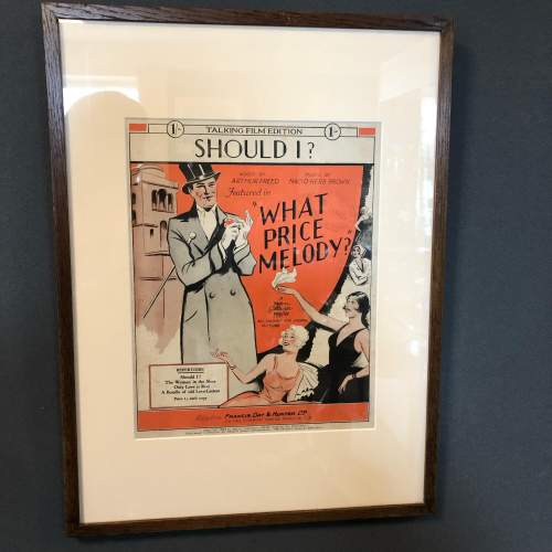 Framed Original Sheet Music Cover Should I - What Price Melody image-1