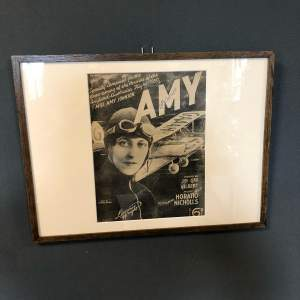 Framed Sheet Music Cover Celebrating Home Coming of Amy Johnson