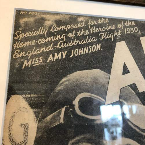 Framed Sheet Music Cover Celebrating Home Coming of Amy Johnson image-3