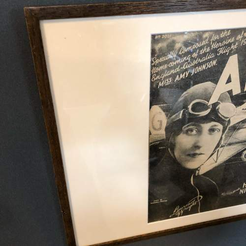 Framed Sheet Music Cover Celebrating Home Coming of Amy Johnson image-4