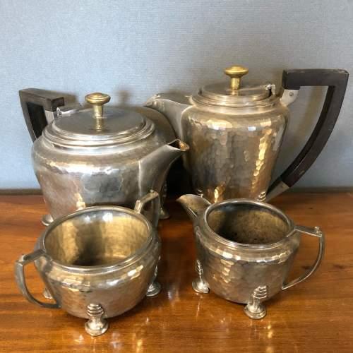 Hand Hammered Art Deco Pewter Tea Set image-1