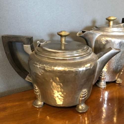 Hand Hammered Art Deco Pewter Tea Set image-2