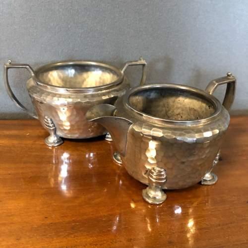 Hand Hammered Art Deco Pewter Tea Set image-5