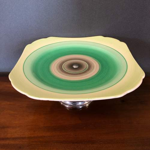 Shelley Harmony Green Banded Cake Stand image-2