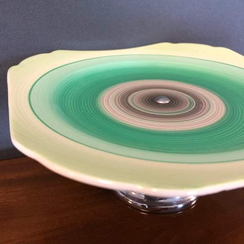Shelley Harmony Green Banded Cake Stand image-3