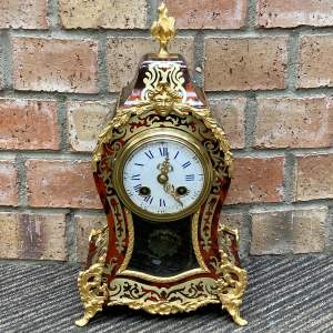 Early 20th Century French Red Boulle Eight Day Mantel Clock