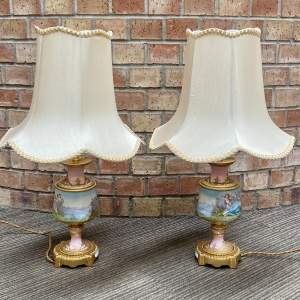 Late 19th Century Pair of Pink Sevres Porcelain Table Lamps